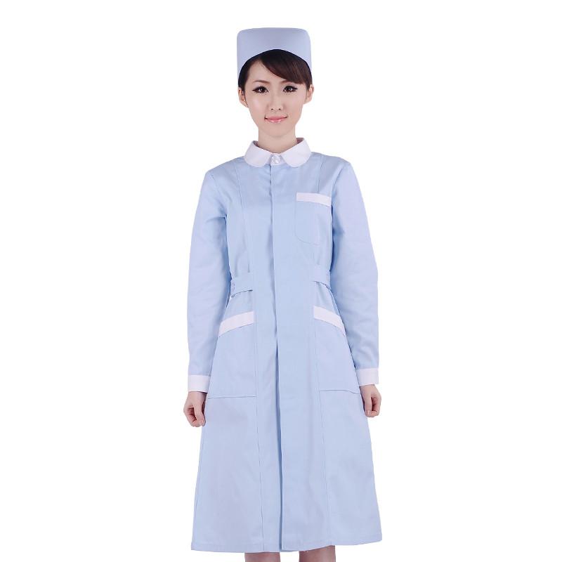 蓝色娃娃领护士服/牙科/药店工作服 冬装 XYC-05